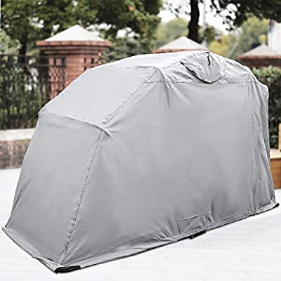 """Happybuy Motorcycle Shelter Storage Waterproof Motorbike Storage Tent Oxford 600D Silver Color 106""""x 41""""x 61"""" Motorcycle Shelter Shed with Carry Bag Small"""