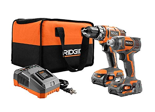 RIDGID R96021SB 18V Lithium-Ion Cordless Drill/Driver and Impact Driver Combo Kit with...