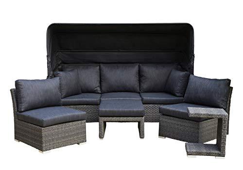 LC Home Muschel-Set Relaxset Loungebank Loungeset Strandkorb Barcelona Relax grau-Mix Poly Rattan Alu