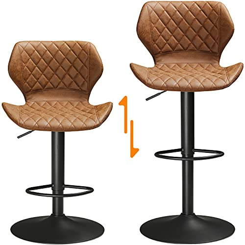 SUCSSRICH Counter Height Bar stools Leather Kitchen Bar Stools Set of 2 Swivel Bar Stools Brown Adjustable Bar Chairs Breakfast Bar Stools for Island Barstools