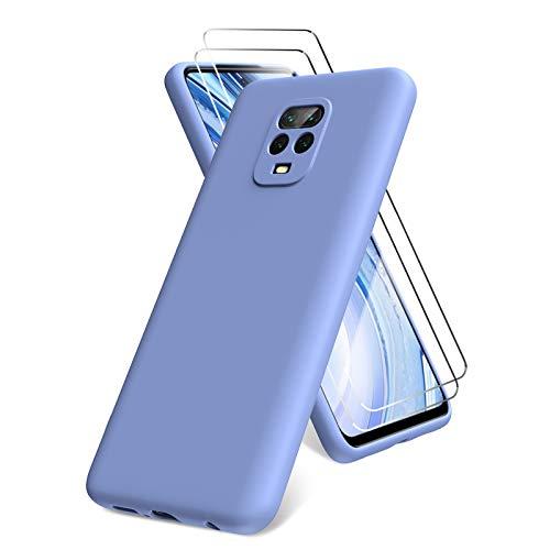 All Do Oududianzi Funda para Xiaomi Redmi Note 9 Pro/Note 9S, Protector Pantalla Cristal Templado, Carcasa de Silicona Líquida Gel Ultra Suave Funda con tapete de Microfibra Anti-Rasguño - Morado