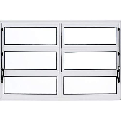 Janela Basculante de Alumínio 1,00 X 1,50 Linha All Soft Cor Branco Duplo