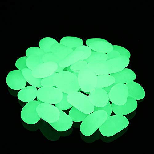WeyTy 200 Stück Leuchtsteine, Nachtleuchtende Steine Künstliche Kieselsteine Leuchtende Steine Kieselsteine Leuchtkiesel für Garten Gehweg, Yard Gras und Aquarium Fisch Behälter Dekoration