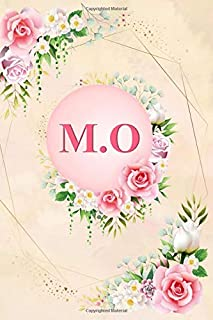 M.O: Elegant Pink Initial Monogram Two Letters M.O Notebook Alphabetical Journal for Writing & Notes, Romantic Personalize...