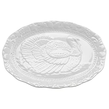 HIC Harold Import Co. HIC Turkey Oversized Serving Platter, Embossed, Fine White Porcelain, 17-Inches
