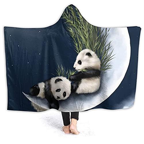 Coperta con cappuccio – Panda e Luna in pile con cappuccio, super morbida e calda, 152,4 x 127 cm