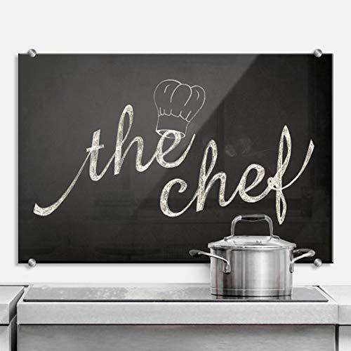 K&L Wall Art - Paraschizzi da cucina con fissaggio a morsetto in acciaio inox (80 x 60 cm, The Chef, nero)