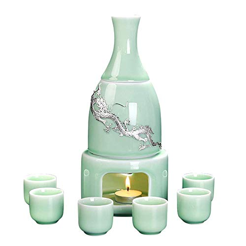 SLRMKK 9 Pieces Sake Set, Celadon Wine Glasses Set with with Warmer and Candle Stove, Inlay Silver Dragon Cups, for Cold/Warm/Shochu/Tea, Best Gift for Family and Friends