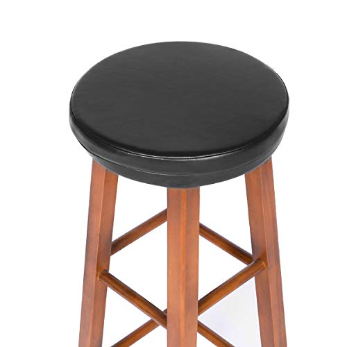 Shinnwa Bar Stool Cushion Round Foam Padded Seat Cushions Waterproof Leather Bar Stool Covers with Elastic and Non Slip Bottom 14 Inch Black