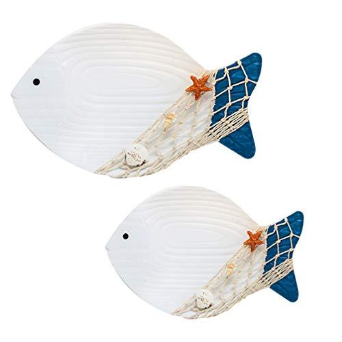Artibetter 2 Pezzi di Pesce Nautico Decorazione di Arte della Parete 3D Legno Mare Figurina di Animali da Parete Ispirazione Scultura Ornamento Moderno per La Spiaggia Costiera Oceano Casa