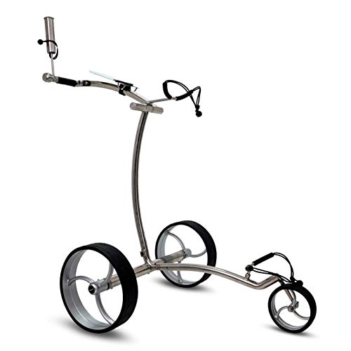tour-made Haicaddy HC7S Travel PRO - Carrito de golf eléctrico (acero inoxidable, litio, con freno de descenso electrónico de bajada (marco curvado)