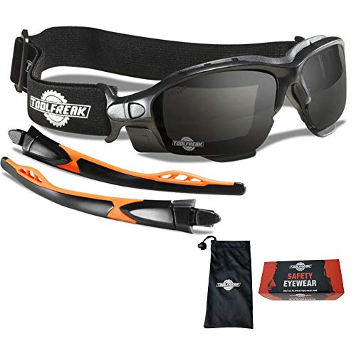 ToolFreak Spoggles Work and Sports Safety Glasses Anti Glare Distortion Free Smoke Tinted Lens Foam Padded Wear them as Glasses or GogglesProtect from Impact and UV Headstrap and Carry Pouch