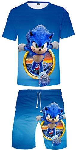 Silver Basic Niños Ropa Deportiva Chándal Sonic Camiseta y Pantalones Conjunto de Pijama de Verano Videojuego Sonic The Hedgehog Disfraz de Cosplay 130,755Círculo Sonic-5
