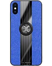 FHXD Compatible con Funda iPhone XS MAX Ultrafina Patrón de Textura de la Tela Caso+1*Protector de Pantalla Soporte de Anillo Giratorio de 360 ° Anti-Shock Cubierta-Azul