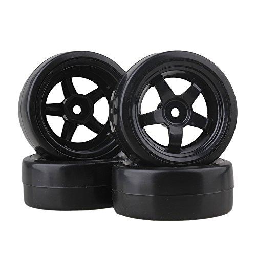 BQLZR65mm OD Black Plastic 5 Speichen Felgen & Glatte Reifen für RC 1: 10 On-Road Rennwagen & Drift Car 4er Pack