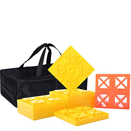 Homeon Wheels RV Leveling Blocks, One Top Tire Wheel Chock and 9 Pack Interlocking Leveling Blocks with Carrying Bag, Heavy Duty Camper Leveling Blocks and Chocks Anti-Slip Pads Design (WH-303)