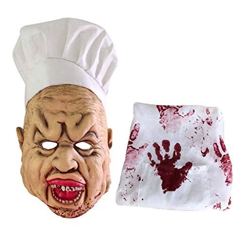 Buwei Halloween Carnicero Ltex Disfraz Completo Crazy Bloody Creepy Scary Headgear Cook Disfraz