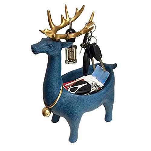 Jucaiyuan Juciyuan Almacenamiento De Llaves para Decoración De Llaves con Forma De Ciervo Caja De Almacenamiento para Llaves De Almacenamiento Personalidad Creativa (Color : Blue)