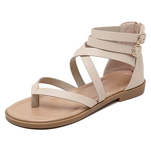 MIAOZHANG Sandalias Planas Cruzadas Moda Verano Aire Libre Cremallera Trasera Cuñas Zapatos Casuales para Mujeres Zapatillas Punta Abierta Playa Cómoda,2,EU 40