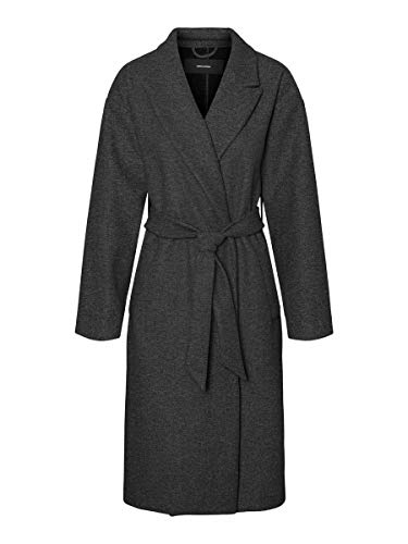 VERO MODA Damen VMFORTUNE Long Jacket PI Mantel, Dark Grey Melange, L