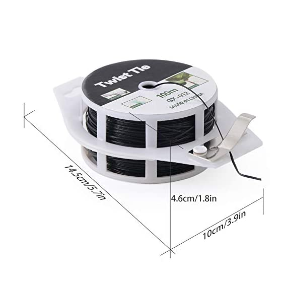 YDSL 328ft (100m) Twist Ties, Plant Ties for Vines Garden Wire with Cutter for Gardening Home Office, Multi-Function… 2 GREAT LENGTH & SUPERIOR MATERIAL】This garden wire is made from super quality green plastic - coating iron, which measures 328ft (100m) per reel, durable and enough to be used for long time. 【PROTECT PLANTS】 Our plastic coated wires with great length(328ft) are perfect for garden twist tie, and other plants to trellis, stakes, or any other supports. 【BEST ASSISTANT FOR YOUR HOME & OFFICE】 The plant ties function, our tie twist can be your great companion at home or the office, help you organize well the headphones lines, computer lines , mobile phone cables and others.