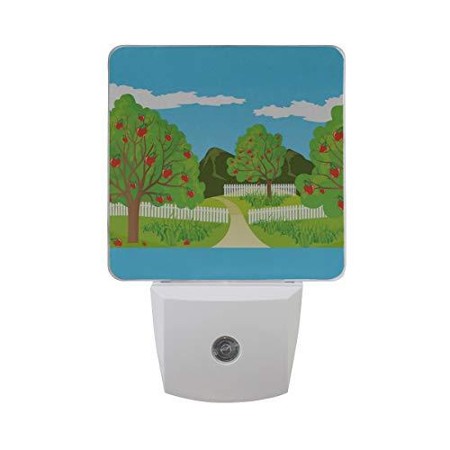 LINPM Led Nachtlicht mit Smart Dusk to Dawn Sensor, ländliche Landschaft Vektor Plug-In Nacht für Schlafzimmer Badezimmer Flur Treppen oder jeden dunklen Raum , 2 Pack