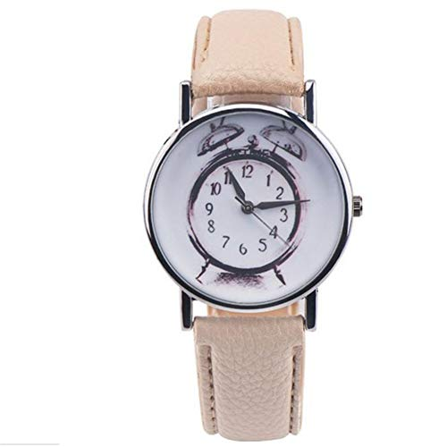 FDIJM Damenuhr Herren Wecker Muster Lederarmband Lässig Analog Vogue Armbanduhr , Kh