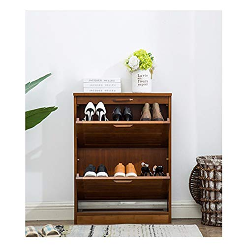 HSTD Pull Down Shoe Racks,2 Tiers Bamboo Shoe Bench With 1 Drawers, for Living Room,Hallway Cloakroom and Entryway, 64x 20 X 84 Cm
