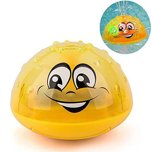 Aokebeey Kinder Schwimmende Badespielzeug Wasserspielzeug mit Licht, Automatische Induktions Sprinkler Babyspiel Wasserbad Spielzeug für Babys Kleinkinder Party - Gelb