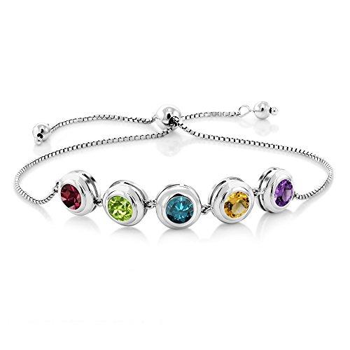 Gem Stone King 925 Sterling Silver 5 Round Bezel Birthstones Build Your Personalized Women's Tennis Bracelet