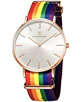 BlackByBlueBrave Wrist Watches Rainbow Nylon Band, Minimalist Thin Dial Dress Watches for Men and Women, Japanese Quartz Movement with Analog Display, 3ATM Water-Resistant