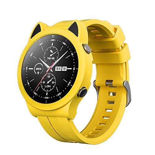 JJBFAC Caja de Silicona Suave Duradera+for Huawei Gt2 GT 2 Magic 2 Magic2 42mm 46mm Caucho Anti-caída Correa de muñeca Relojes (Color : Yellow, Size : GT2 46mm)