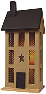 Primitive Country Rustic Tall Mustard Saltbox Lighted House