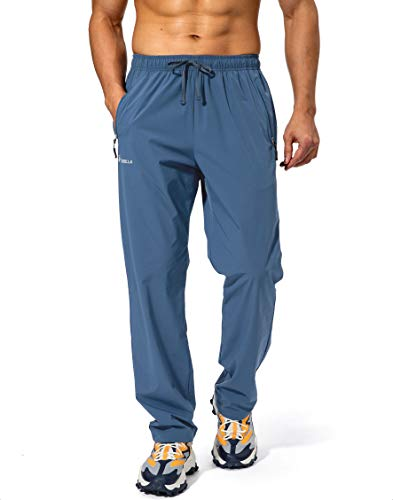 Pudolla Men's Workout Athletic Pants Elastic Waist Jogging Running Pants for Men with Zipper Pockets (Lonys Blue Large)