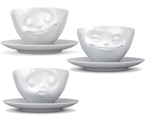 Fiftyeight Tassen 3er-Set TV Tassen Kaffeetasse Teetasse mit Henkel Grinsend, Küssend, Glücklich Tasse mit Untertasse