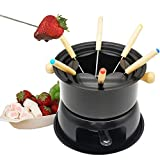basisago Cast Iron Foundue Set, Multifunctional Steel Ice Cream Chocolate Cheese Hot Pot Melting Pot Fondue Set Kitchen Accessories, For Cheese Meat Chocolate Broth