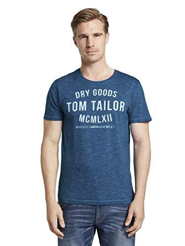 TOM TAILOR Herren T-Shirts/Tops T-Shirt mit Print Blue Navy fine Stripe,M
