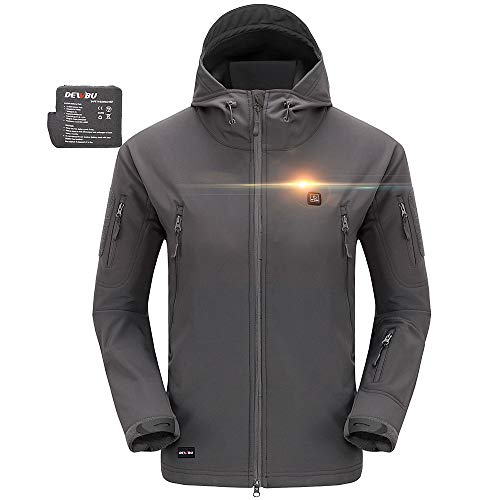DEWBU Heated Jacket Outdoor Soft Shell Heating Clothing with 7.4V Battery Pack Grey