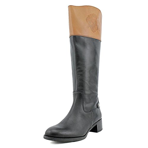 Franco Sarto Women's Chip Tall Riding Leather Boot, Black/Banana, 8M