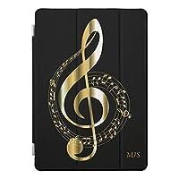 RECASO フェイクな金ゴールド 黒音楽は任意モノグラムに注意します iPad 7 ケース 第7世代 PUレザー 2019 10.2インチ 透明 TPU 耐衝撃 背面保護ケース apple アイパッド カバー