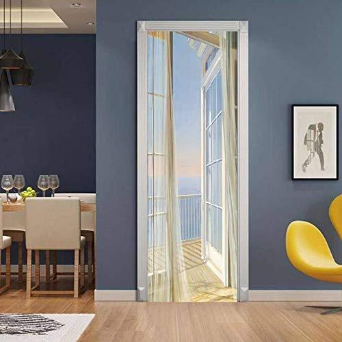 Türposter Halboffene Tür Bild 3D Tür Aufkleber Vinyl Tapete Abnehmbare Aufkleber Poster Diy Kunst Dekoration 77 Cm X 200 Cm