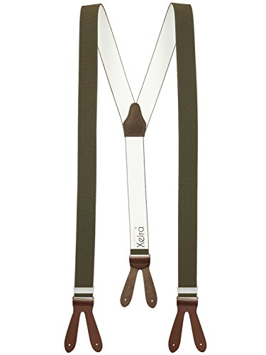 Xeira Hosenträger Khaki mit Braunen Lederriemen zum Knöpfen für Herren und Damen Normale Länge 110