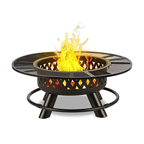 blumfeldt Rosario 3-in-1 Feuerschale: Feuerstelle, Grill & Tisch in einem - riesig: Ø 120 cm, schwenkbarer & höhenverstellbarer Grillrost aus V2A Edelstahl: Ø 75 cm, Stahl, Graphitschwarz