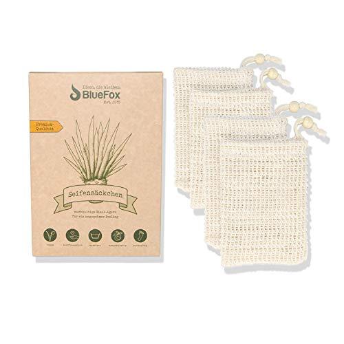 BlueFox Seifensäckchen - 4er Set - 14 x 10cm - Nachhaltiges Seifennetz - Seifenbeutel - Robuster Seifensack für Seife und Seifenreste - Ohne Plastikverpackung - Deutsche Marke
