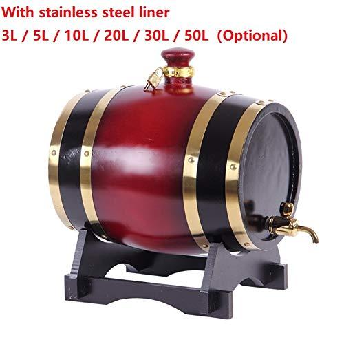 XWDQ 3L -50L Eichenholzfass Weinfass Edelstahl Innen Fass Weinfass aus Holz Weinfass Gebrauchte Weißwein zu speichern, Rotwein, Cognac, Whisky usw,3L