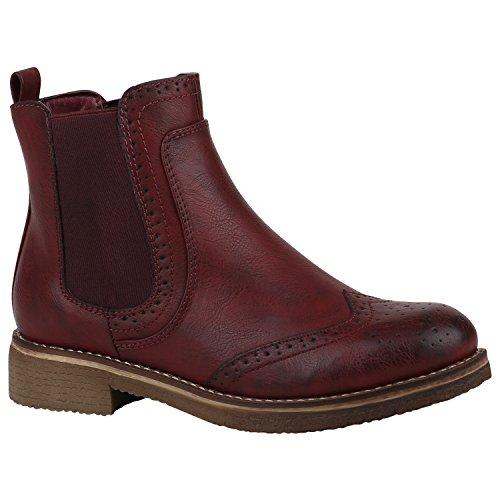 Damen Stiefeletten Chelsea Boots Leicht Gefütterte Freizeitschuhe 150185 Dunkelrot Cabanas 39 Flandell