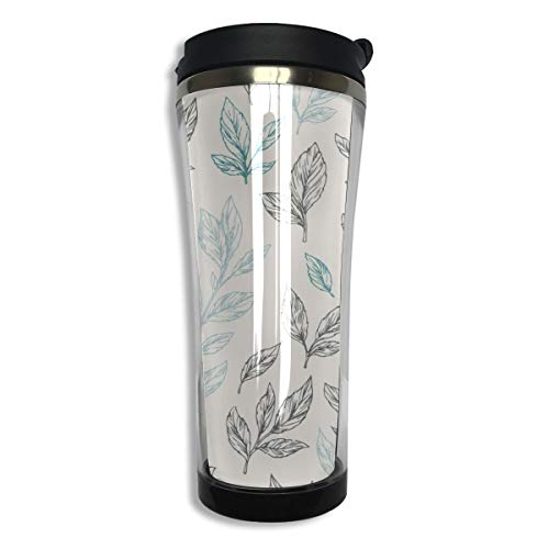 14oz Double-layer Vacuum Insulated Best Coffee Mughhh 304 Stainless Steel Coffee Mugs Stainless Steel Fresh Natural Drink Green Tea Leaves Coffee Mug Travel For Men Women