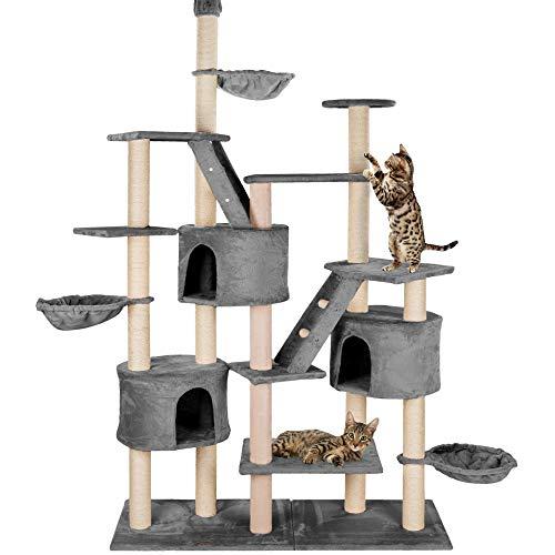 happypet® Kratzbaum für Katzen deckenhoch höhenverstellbar 240 - 260 cm hoch, CAT013, großer Kletterbaum Katzenbaum für mehrere Katzen geeignet, stabile Säulen mit Sisal ca. 8,5 cm Durchmesser inkl. Häuser Liegemulden Treppen GRAU
