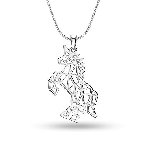HIKARO Sterling Silver Jewelry Unicorn Horse Pendant Necklace for Teen Women