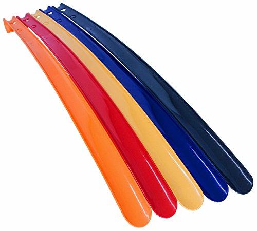 Komfort-Schuhanzieher Kunststoff, 70cm, bruchsicher, mit Haken und Lochung 5er SET, brilliante Farben schwarz, dunkelblau, rot, orange, gelb
